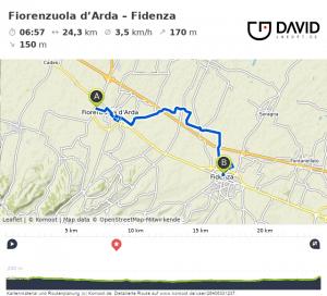 Via Francigena: Fiorenzuola d'Arda – Fidenza Strecke
