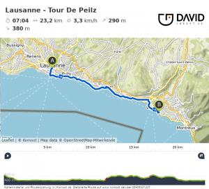 Via Francigena: Lausanne nach Tour De Peilz Route