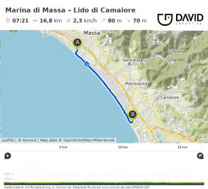Via Francigena: Marina di Massa nach Lido di Camaiore Strecke