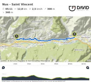 Via Francigena: Nus nach Saint-Vincent Route