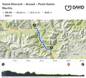 Via Francigena Route: Saint-Vincent nach Point-Saint-Martin.