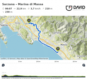 Via Francigena: Sarzana nach Marina di Massa Radweg