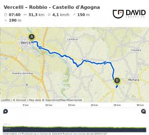 Via Francigena: Route von Vercelli nach Robbio.